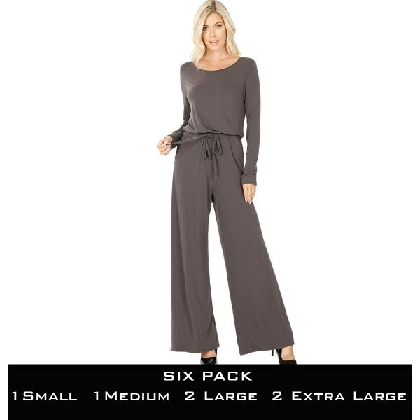 Wholesale Jumpsuit - Back Keyhole Opening 3116  ASH GREY SIX PACK Jumpsuit - Back Keyhole Opening 3116 (1S/1M/2L/2XL) - 1 Small 1 Medium 2 Large 2 Extra Large