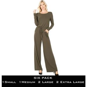 Wholesale   DARK OLIVE SIX PACK Jumpsuit - Back Keyhole Opening 3116 (1S/1M/2L/2XL) - 1 Small 1 Medium 2 Large 2 Extra Large