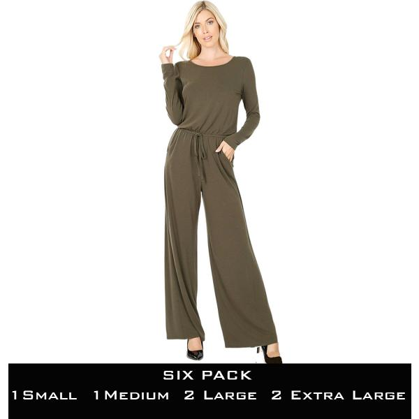 Wholesale Jumpsuit - Back Keyhole Opening 3116  DARK OLIVE SIX PACK Jumpsuit - Back Keyhole Opening 3116 (1S/1M/2L/2XL) - 1 Small 1 Medium 2 Large 2 Extra Large