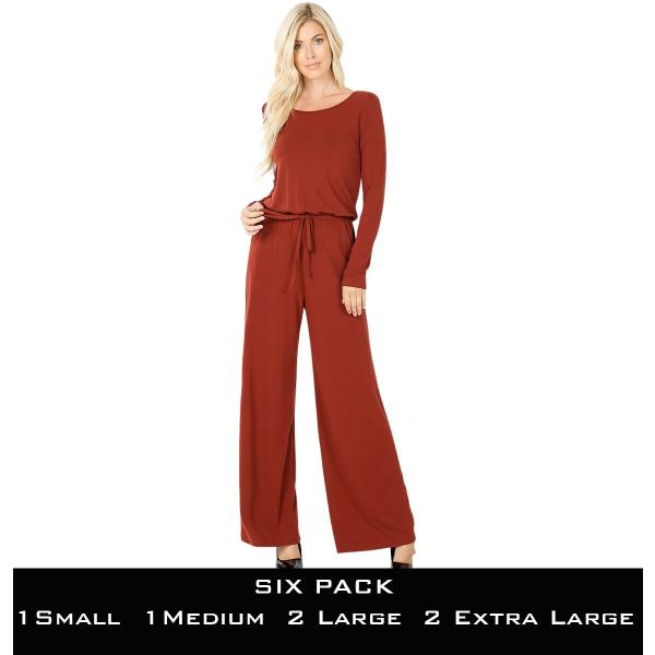 Wholesale Jumpsuit - Back Keyhole Opening 3116  DARK RUST SIX PACK Jumpsuit - Back Keyhole Opening 3116 (1S/1M/2L/2XL) - 1 Small 1 Medium 2 Large 2 Extra Large