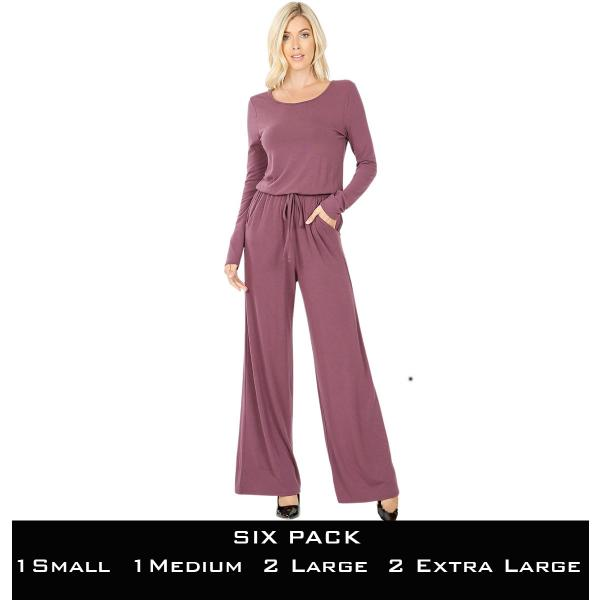 Wholesale Jumpsuit - Back Keyhole Opening 3116  EGGPLANT SIX PACK Jumpsuit - Back Keyhole Opening 3116 (1S/1M/2L/2XL) - 1 Small 1 Medium 2 Large 2 Extra Large