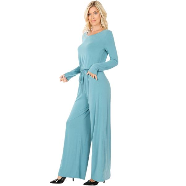 Wholesale Jumpsuit - Back Keyhole Opening 3116 DUSTY TEAL Jumpsuit - Back Keyhole Opening 3116 - Large