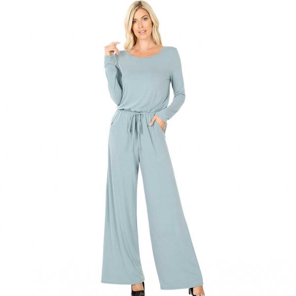 Wholesale Jumpsuit - Back Keyhole Opening 3116 BLUE GREY Jumpsuit - Back Keyhole Opening 3116 - Small