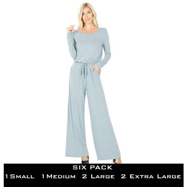 Wholesale Jumpsuit - Back Keyhole Opening 3116  BLUE GREY SIX PACK Jumpsuit - Back Keyhole Opening 3116 (1S/1M/2L/2XL) - 1 Small 1 Medium 2 Large 2 Extra Large