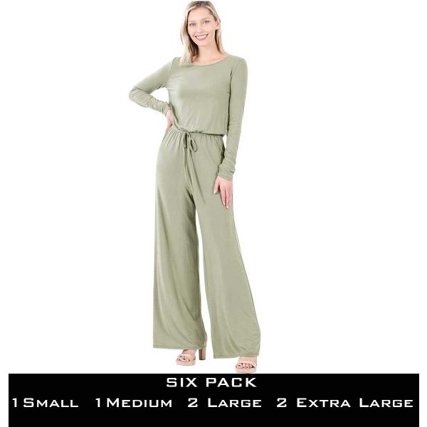 Wholesale Jumpsuit - Back Keyhole Opening 3116  LIGHT OLIVE SIX PACK Jumpsuit - Back Keyhole Opening 3116 (1S/1M/2L/2XL) - 1 Small 1 Medium 2 Large 2 Extra Large
