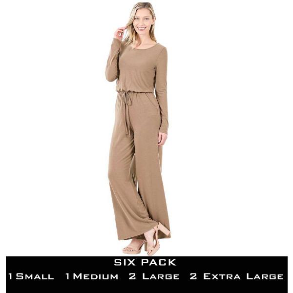 Wholesale Jumpsuit - Back Keyhole Opening 3116  MOCHA SIX PACK Jumpsuit - Back Keyhole Opening 3116 (1S/1M/2L/2XL) - 1 Small 1 Medium 2 Large 2 Extra Large