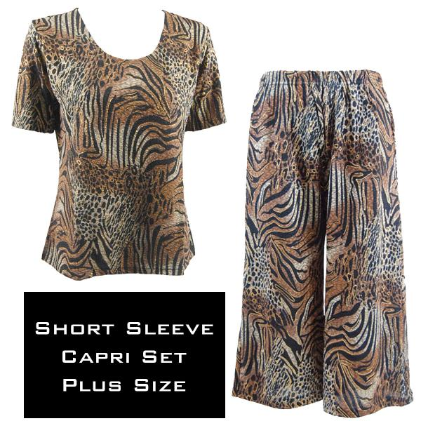 Wholesale Slinky - Short Sleeve Sets SST ANIMAL PRINT Metallic Slinky - Short Sleeve/Capri Set - Plus Size (XL-2X)