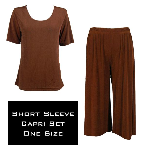 Wholesale Slinky - Short Sleeve Sets SST BROWN Slinky - Short Sleeve/Capri Set - One Size Fits All