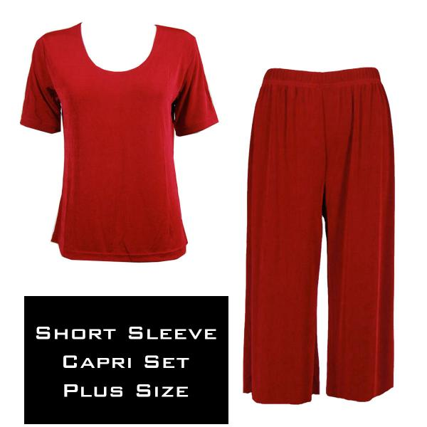 Wholesale Slinky - Short Sleeve Sets SST CRANBERRY Slinky - Short Sleeve/Capri Set - Plus Size (XL-2X)
