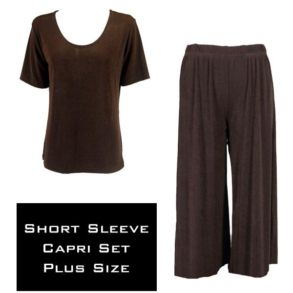 Wholesale Slinky - Short Sleeve Sets SST DARK BROWN Slinky - Short Sleeve/Capri Set - Plus Size (XL-2X)