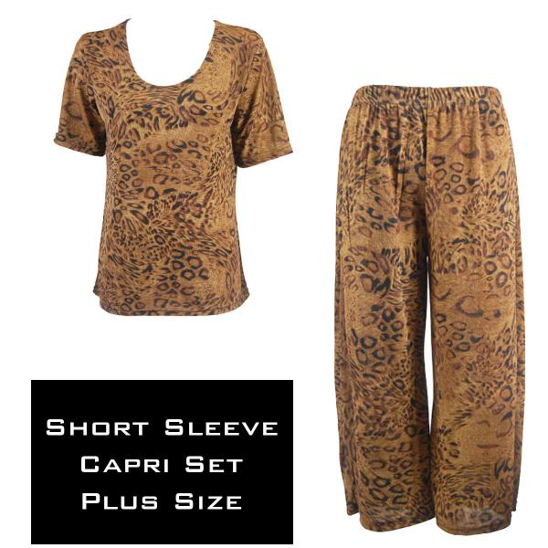 Wholesale Slinky - Short Sleeve Sets SST LEOPARD Slinky - Short Sleeve/Capri Set - Plus Size (XL-2X)