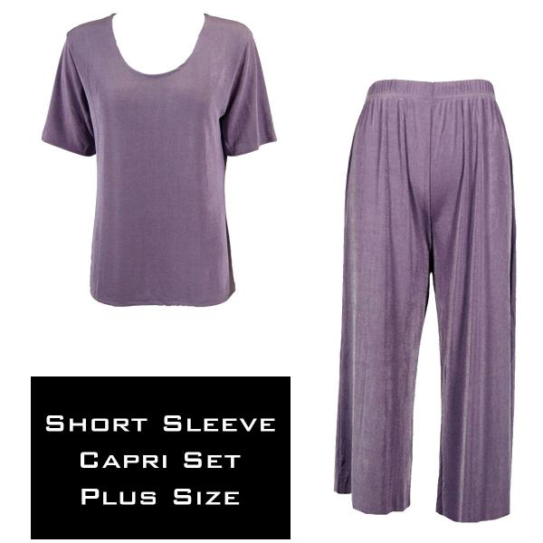 Wholesale Slinky - Short Sleeve Sets SST DUSTY PURPLE Slinky - Short Sleeve/Capri Set - Plus Size (XL-2X)