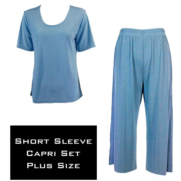 Wholesale Slinky - Short Sleeve Sets SST LIGHT BLUE Slinky - Short Sleeve/Capri Set - Plus Size (XL-2X)