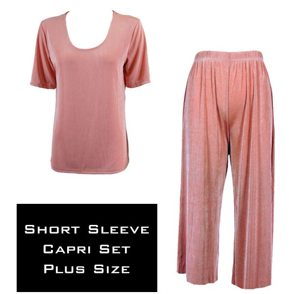 Wholesale Slinky - Short Sleeve Sets SST LIGHT PINK Slinky - Short Sleeve/Capri Set - Plus Size (XL-2X)
