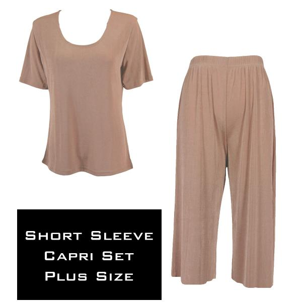 Wholesale Slinky - Short Sleeve Sets SST NUTMEG Slinky - Short Sleeve/Capri Set - Plus Size (XL-2X)