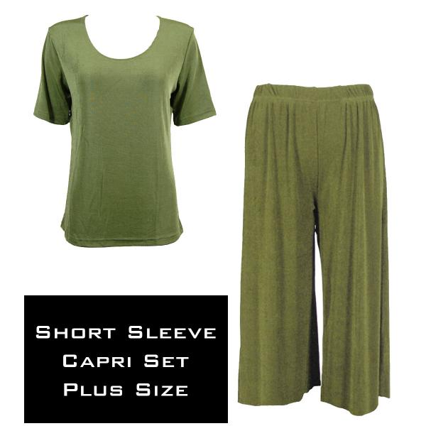 Wholesale Slinky - Short Sleeve Sets SST OLIVE Slinky - Short Sleeve/Capri Set - Plus Size (XL-2X)