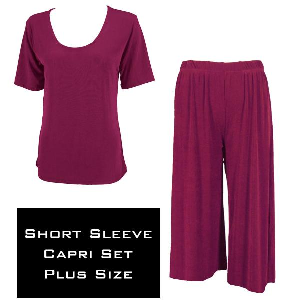 Wholesale Slinky - Short Sleeve Sets SST PLUM Slinky - Short Sleeve/Capri Set - Plus Size (XL-2X)