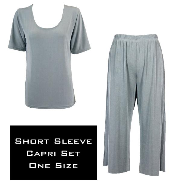 Wholesale Slinky - Short Sleeve Sets SST SILVER Slinky - Short Sleeve/Capri Set - One Size Fits All