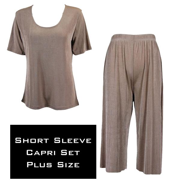 Wholesale Slinky - Short Sleeve Sets SST TAUPE Slinky - Short Sleeve/Capri Set - Plus Size (XL-2X)