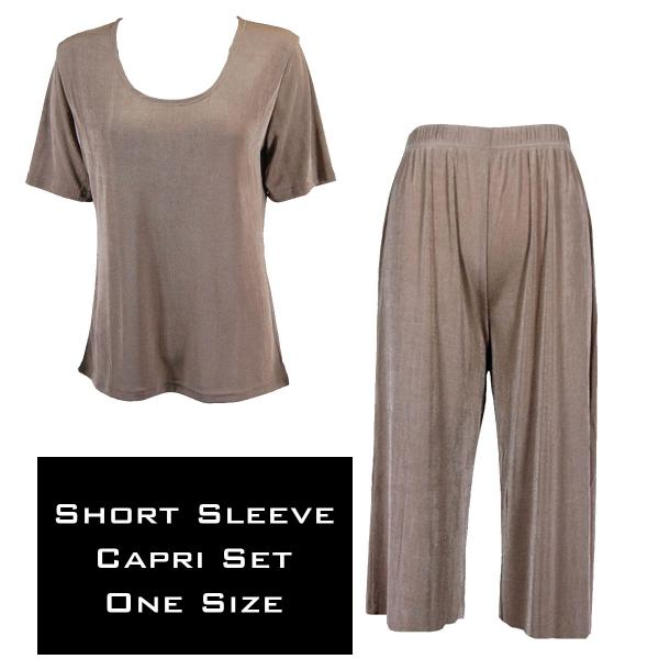 Wholesale Slinky - Short Sleeve Sets SST TAUPE Slinky - Short Sleeve/Capri Set - One Size Fits All