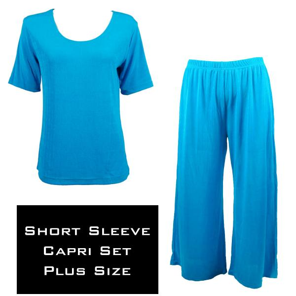 Wholesale Slinky - Short Sleeve Sets SST TURQUOISE Slinky - Short Sleeve/Capri Set - Plus Size (XL-2X)