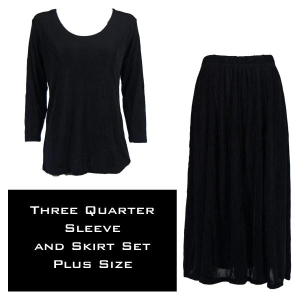 Wholesale Slinky Skirt and Top Sets SST BLACK Slinky Skirt and Top Set - Plus Size (XL-2X)