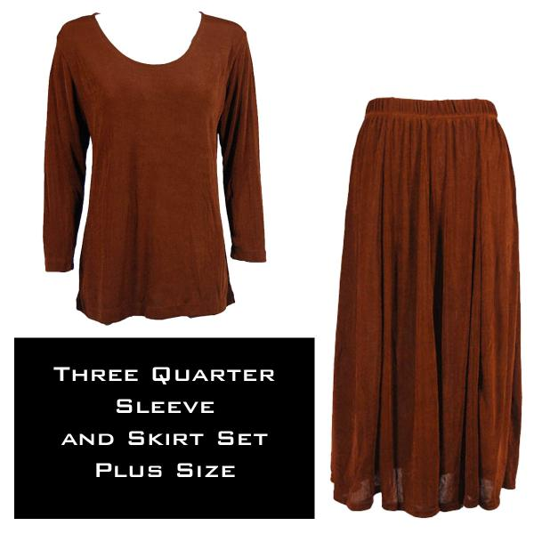 Wholesale Slinky Skirt and Top Sets SST BROWN Slinky Skirt and Top Set - Plus Size (XL-2X)