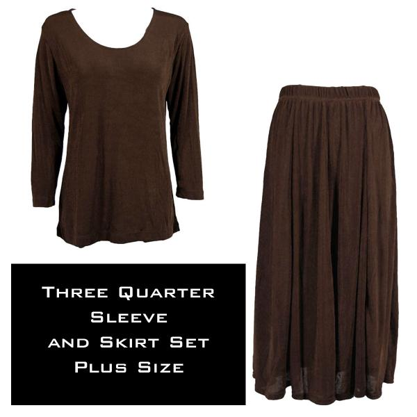 Wholesale Slinky Skirt and Top Sets SST DARK BROWN Slinky Skirt and Top Set - Plus Size (XL-2X)