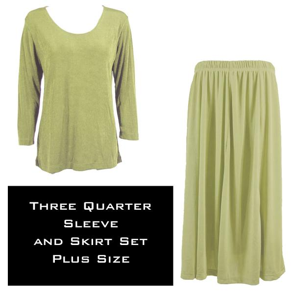 Wholesale Slinky Skirt and Top Sets SST LEAF GREEN Slinky Skirt and Top Set - Plus Size (XL-2X)