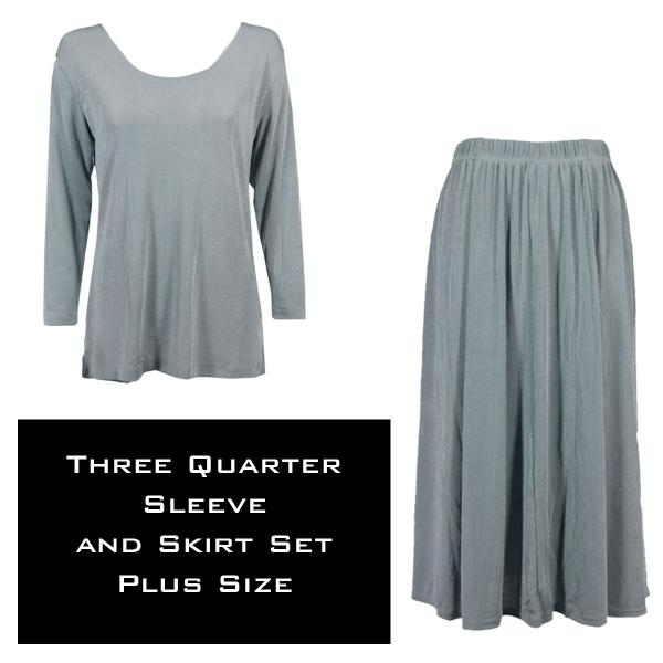 Wholesale Slinky Skirt and Top Sets SST SILVER Slinky Skirt and Top Set - Plus Size (XL-2X)