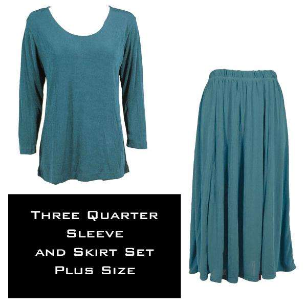 Wholesale Slinky Skirt and Top Sets SST TEAL Slinky Skirt and Top Set - Plus Size (XL-2X)