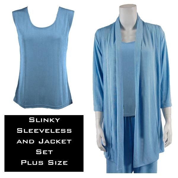 Wholesale Slinky Jacket Set LIGHT BLUE Slinky Jacket Set - XL-2X
