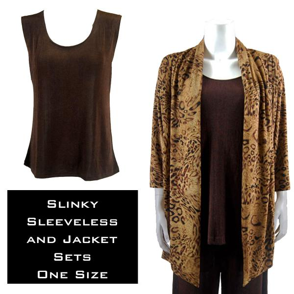 Wholesale Slinky Jacket Set LEOPARD w/ Dark Brown Slinky Jacket Set - S-L