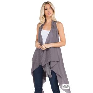 Wholesale  GREY Vest - Sheer Crepe w/ Crystals 403 - One Size Fits All