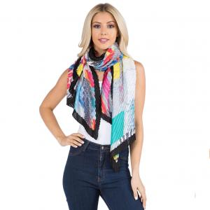 Wholesale  ABSTRACT w/ BLACK BORDER Pleated Scarf 1C60 -