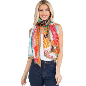 Wholesale  ABSTRACT w/ CHAMPAGNE BORDER Pleated Scarf 1C60 -