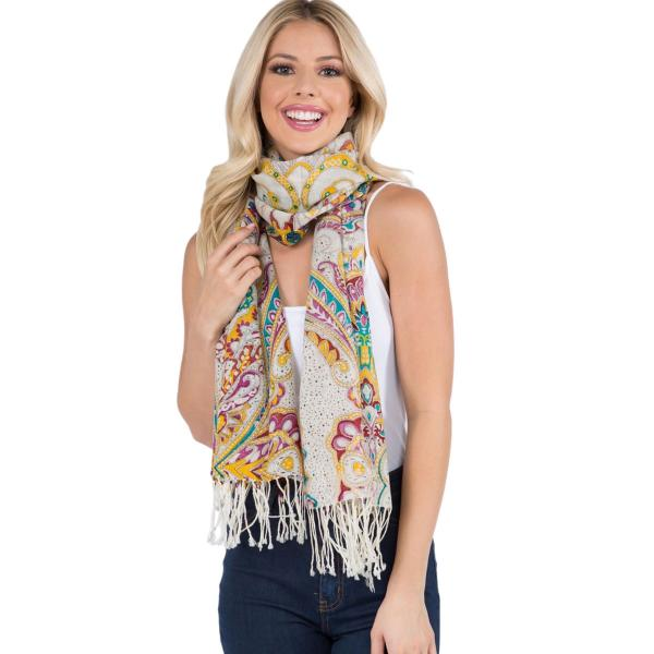 Wholesale Scarf - Paisley Light Wool 902 /904 MIXED PAISLEY Scarf Light Wool (904-TQ)  -