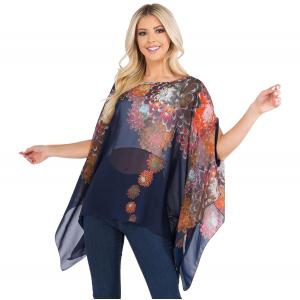 Wholesale  NAVY FLORAL Poncho - Banded with Armholes 3103 - One Size Fits All