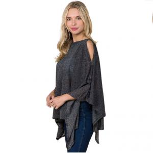 Wholesale  BLACK Poncho - Metallic Slinky 3100 -