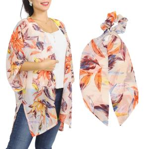 Wholesale   SET 9948-PC  Kimono - Floral and Leaf Print 9948 with Matching Hair Scarf -