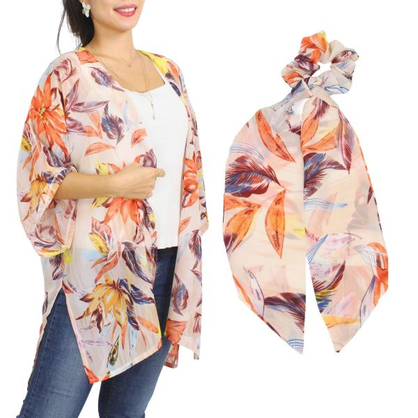Wholesale Kimono - Floral and Leaf Print 9948  SET 9948-PC  Kimono - Floral and Leaf Print 9948 with Matching Hair Scarf -