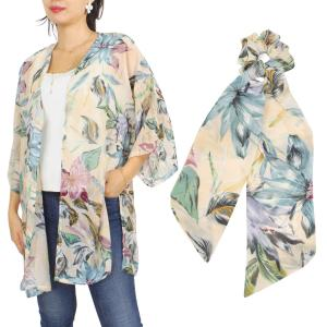 Wholesale   SET 9948-BE  Kimono - Floral and Leaf Print 9948 with Matching Hair Scarf -