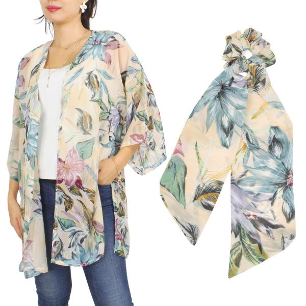 Wholesale Kimono - Floral and Leaf Print 9948  SET 9948-BE  Kimono - Floral and Leaf Print 9948 with Matching Hair Scarf -