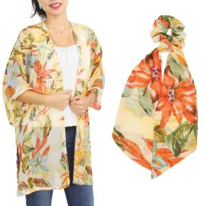 Wholesale   SET 9948-YE  Kimono - Floral and Leaf Print 9948 with Matching Hair Scarf -