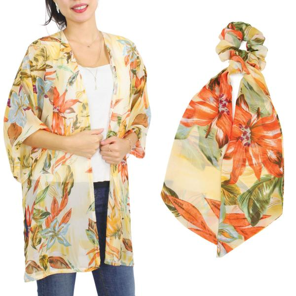 Wholesale Kimono - Floral and Leaf Print 9948  SET 9948-YE  Kimono - Floral and Leaf Print 9948 with Matching Hair Scarf -