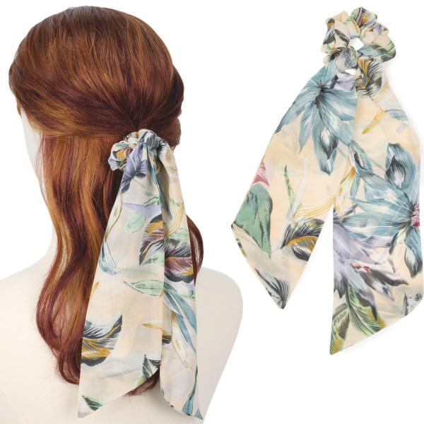 wholesale Hair Ties FLORAL AND LEAF PRINT BE Hair Tie 2064 -