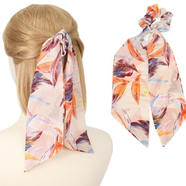 wholesale Hair Ties FLORAL AND LEAF PRINT PC Hair Tie 2064 -