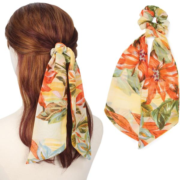 wholesale Hair Ties FLORAL AND LEAF PRINT YE Hair Tie 2064 -