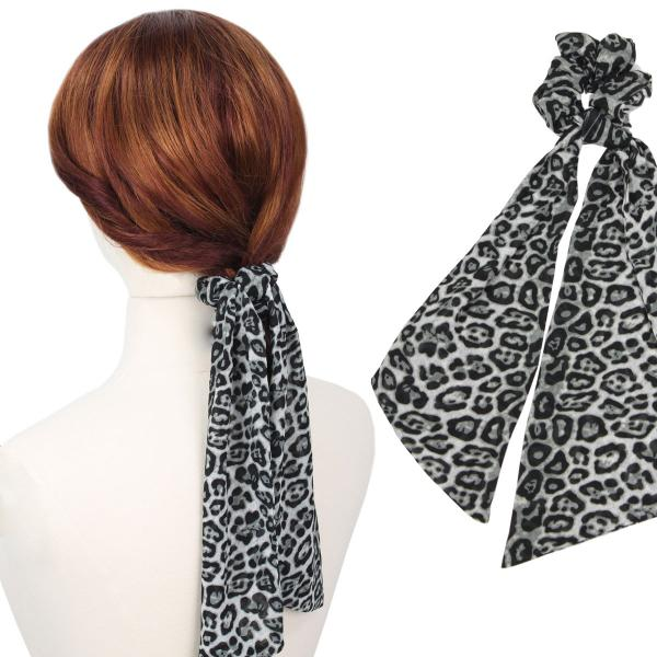 wholesale Hair Ties GREY LEOPARD PRINT Hair Tie 2070 -