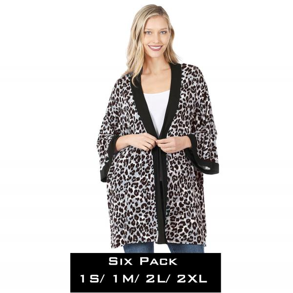 Wholesale Kimono - Leopard Print 43051  GREY LEOPARD (SIX PACK) Kimono - 43051 (1S/ 1M/ 2L/ 2XL) - 1 Small 1 Medium 2 Large 2 Extra Large